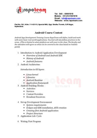 Android training institutes in ameerpet by RapoTeam - issuu