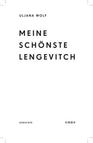 Uljana Wolf Meine Schönste Lengevitch Gedichte Leseprobe