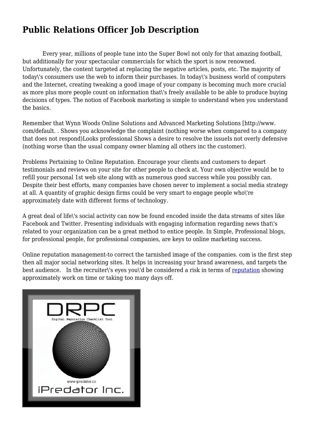 Public Relations Officer Job Description by sloppymagic8109 - issuu