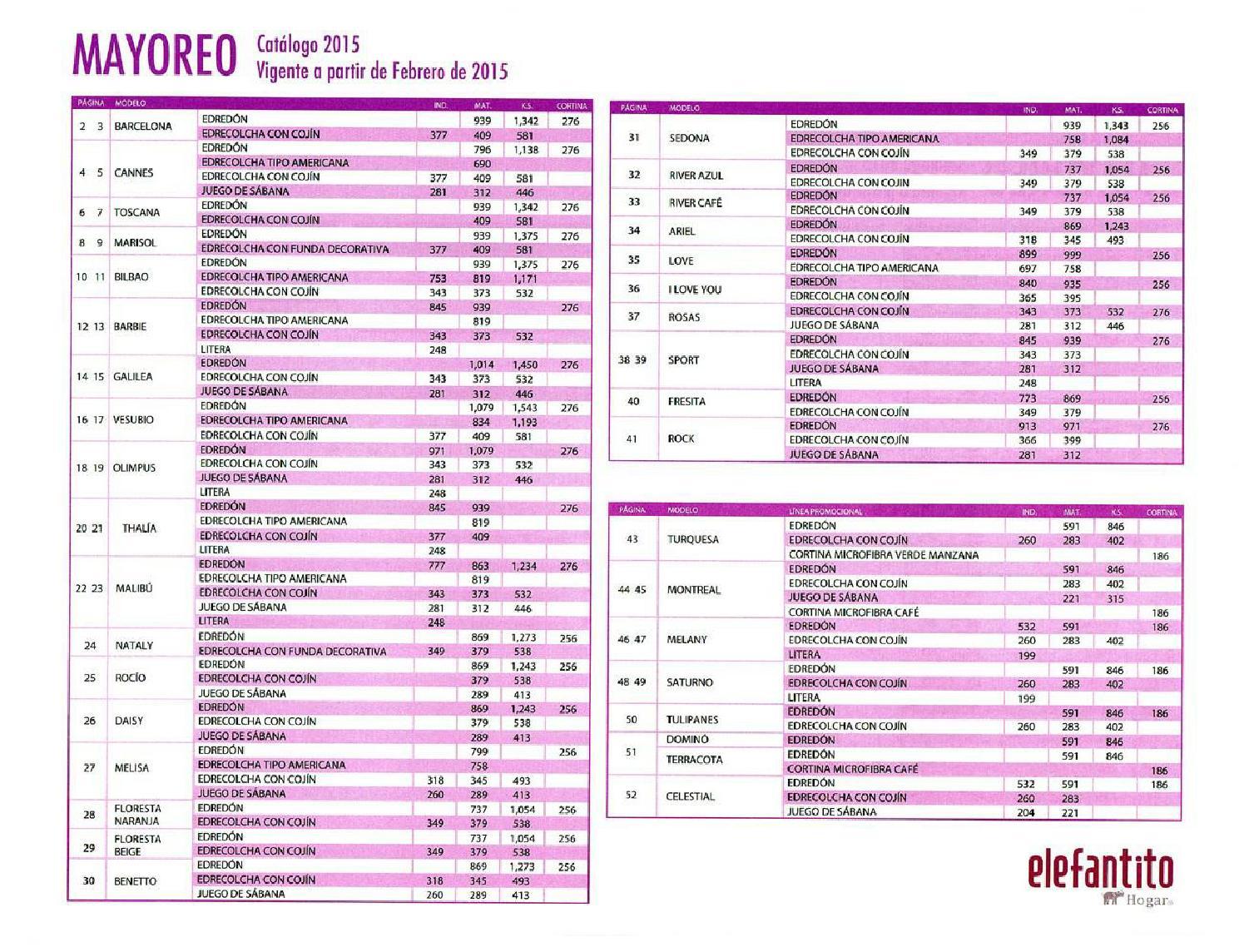 Catalogo colchas elefantito 2015 precios by www for Catalogos sofas precios