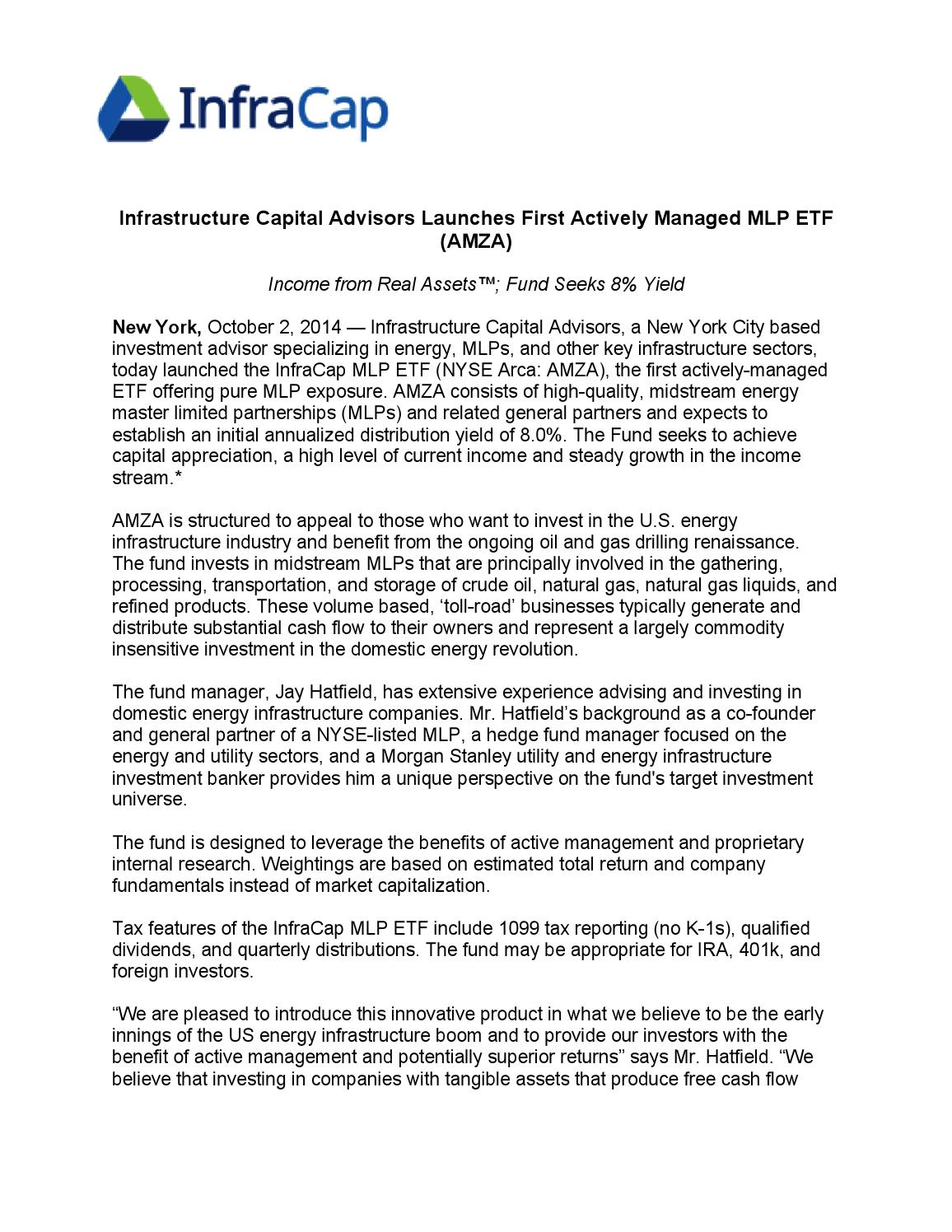 Infrastructure Capital Advisors Launches First Actively Managed MLP
