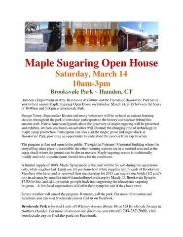 ef3271de05b Maplesugaringopenhouseflyer by Brooksvale Park - issuu