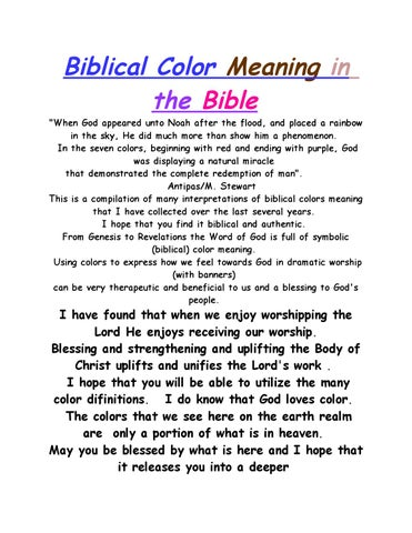 page 1 biblical color meaning