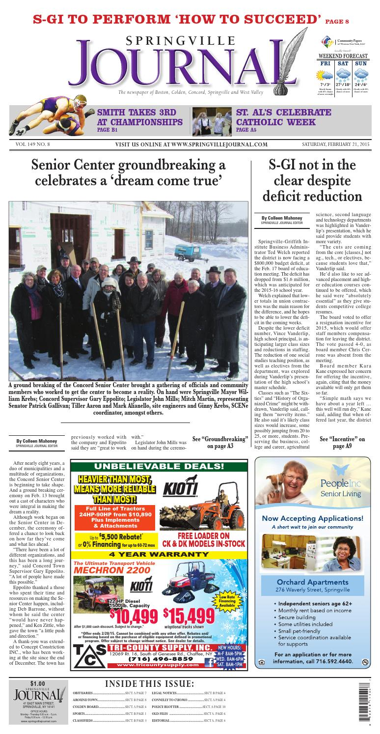 Springville Journal 02 22 2015 by Community Papers of WNY