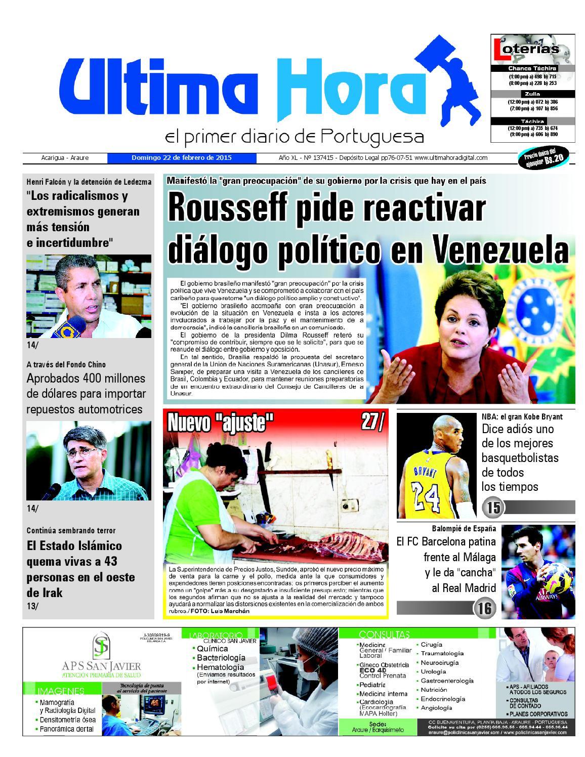 check out 3ae24 bd592 Edicion22 02 2015 by Ultima Hora - El primer diario de Portuguesa - issuu