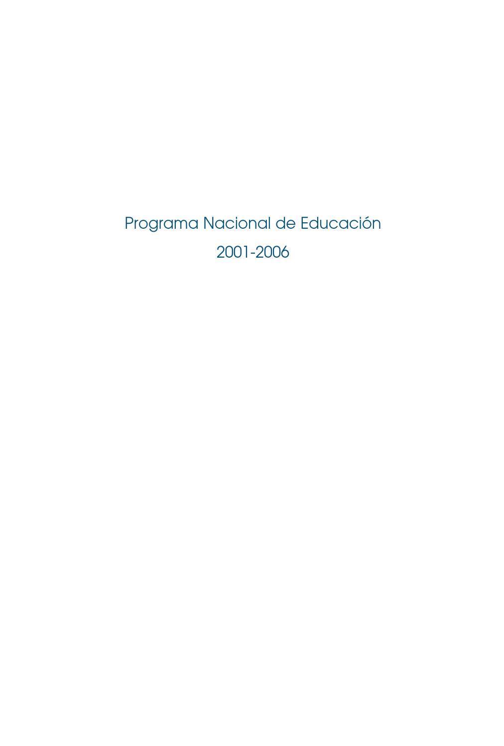Programa Nacional de Educación 2001-2006 by jrr silerio - issuu