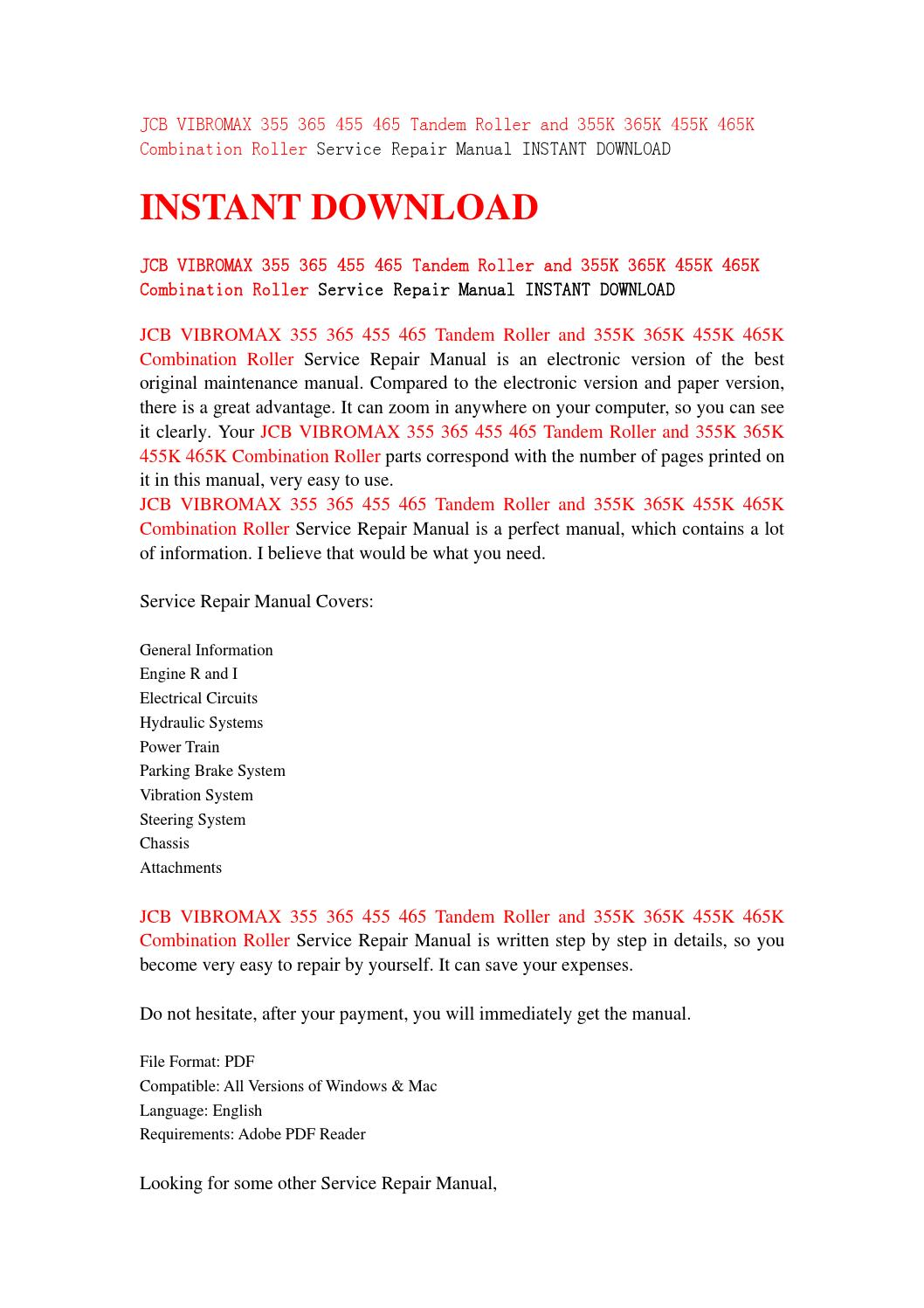 vibromax 355 365 355k 365k 455 465 455k 465k service manual