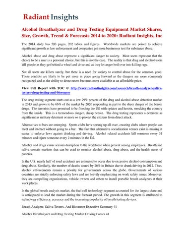 Alcohol breathalyzer and drug testing equipment market