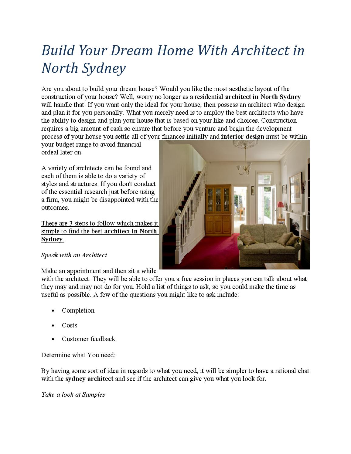 Build Your Dream Home With Architect in North Sydney by ...