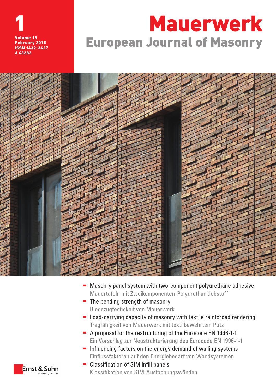 Mauerwerk 01/2015 free sample copy by Ernst & Sohn - issuu
