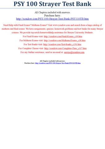 Psy 100 Strayer Test Bank Strayer University New By