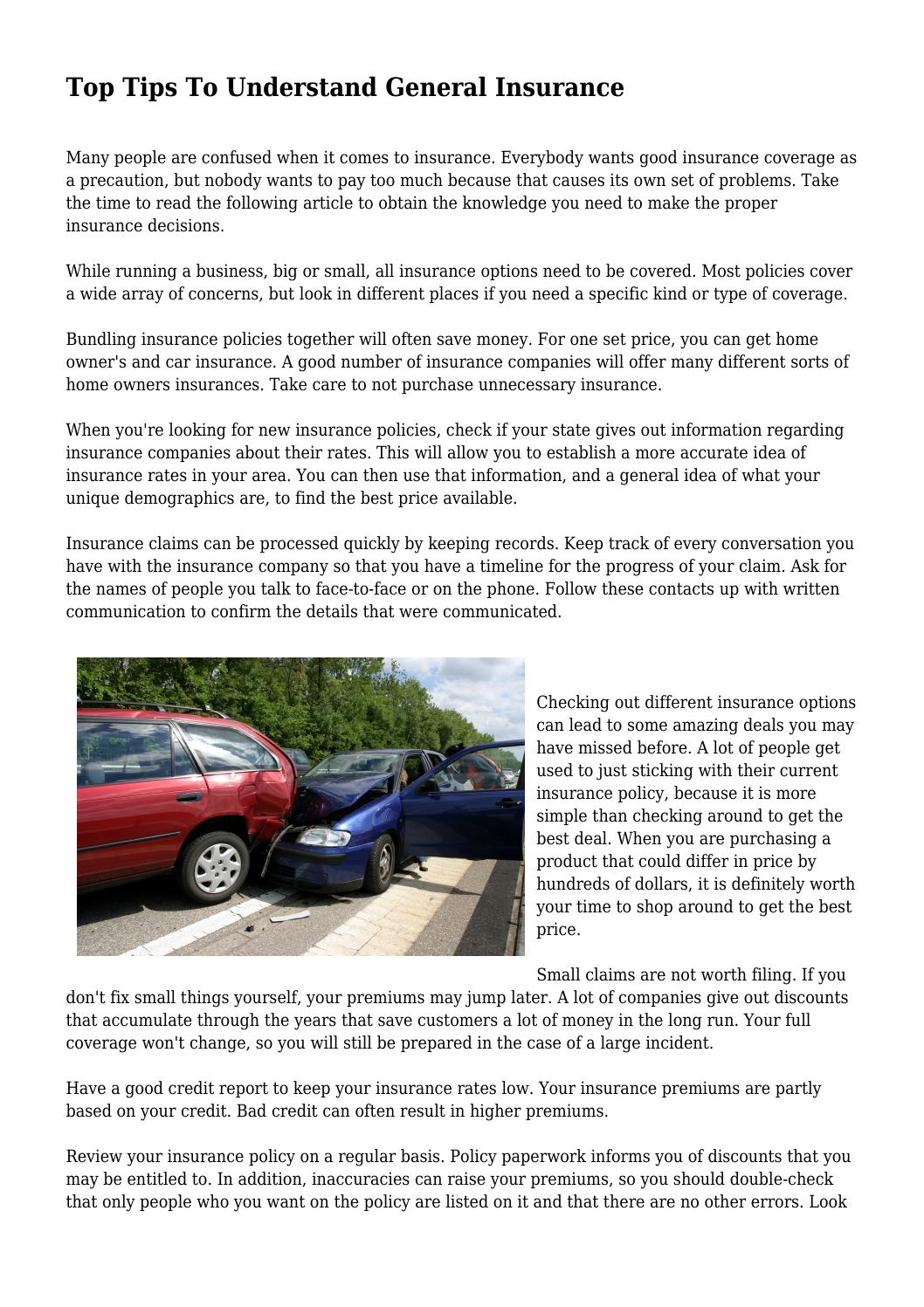 Top Tips To Understand General Insurance By Holisticdemogra93 Issuu