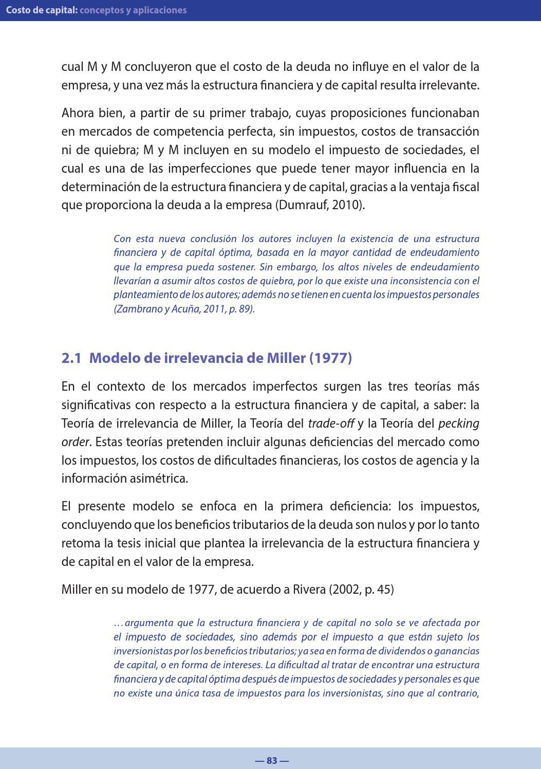 Libro Costo De Capital Conceptos Y Aplicaciones By Facultad