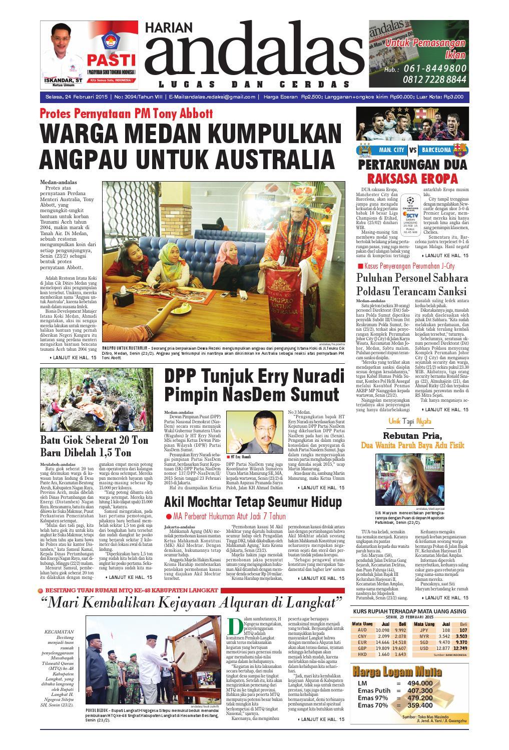Epaper andalas edisi selasa 24 februari 2015 by media andalas - issuu e44db80e45