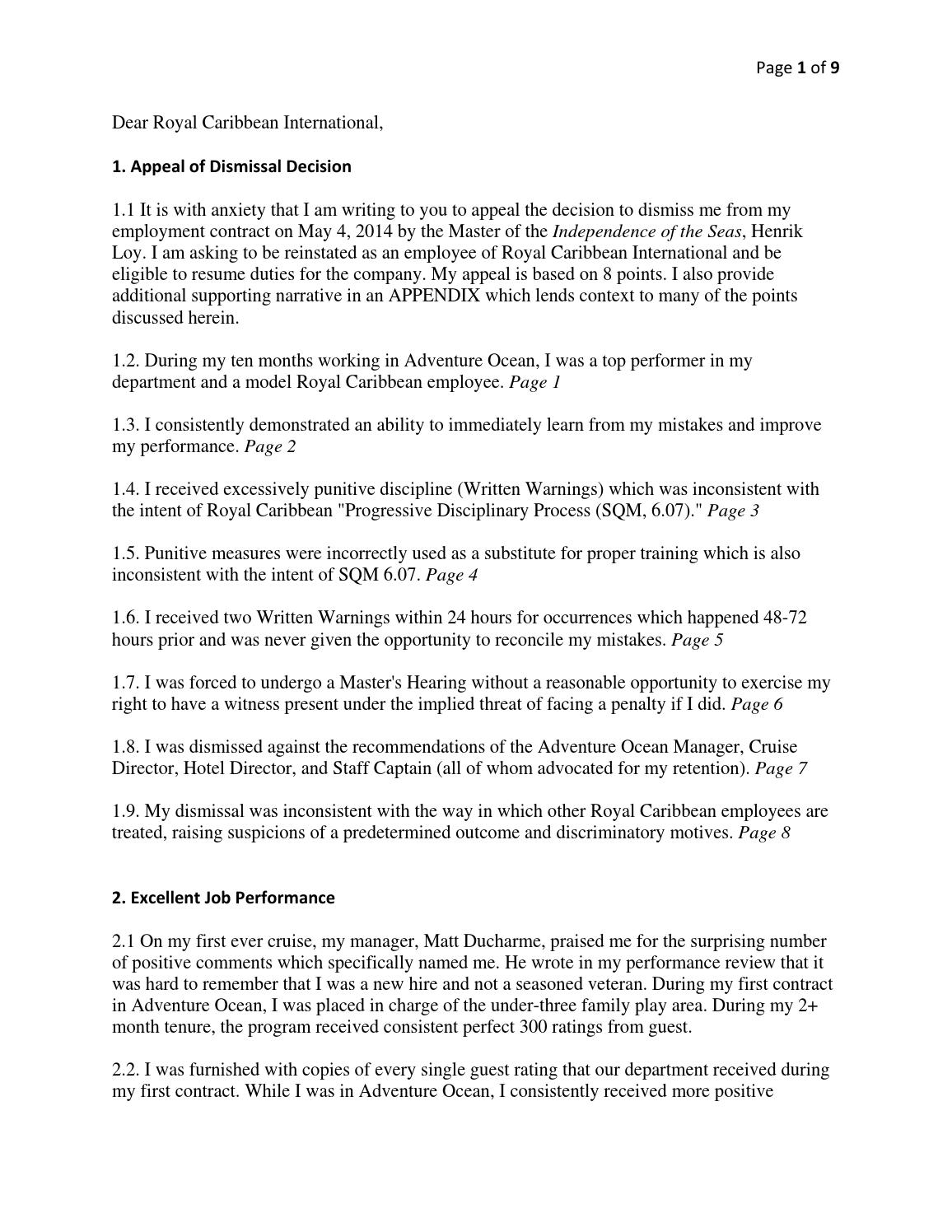 appeal of dismissal from royal caribbean by zachariah wiedeman issuu