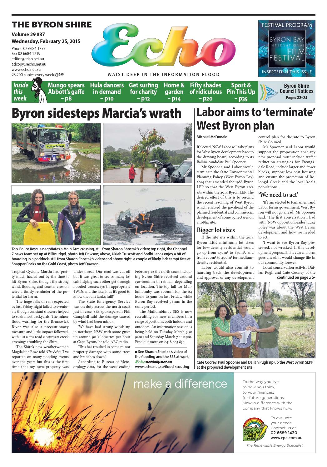 Byron Shire Echo – Issue 29.38 – 25/02/2015 by Echo Publications - issuu