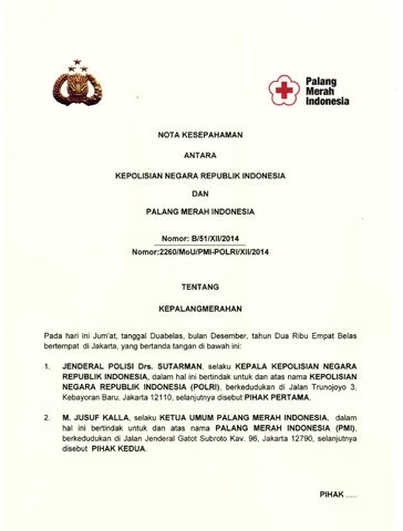 Mou Kerjasama Pmi By Palang Merah Indonesia Issuu