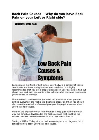 Back pain causes why back pain on left or right side by