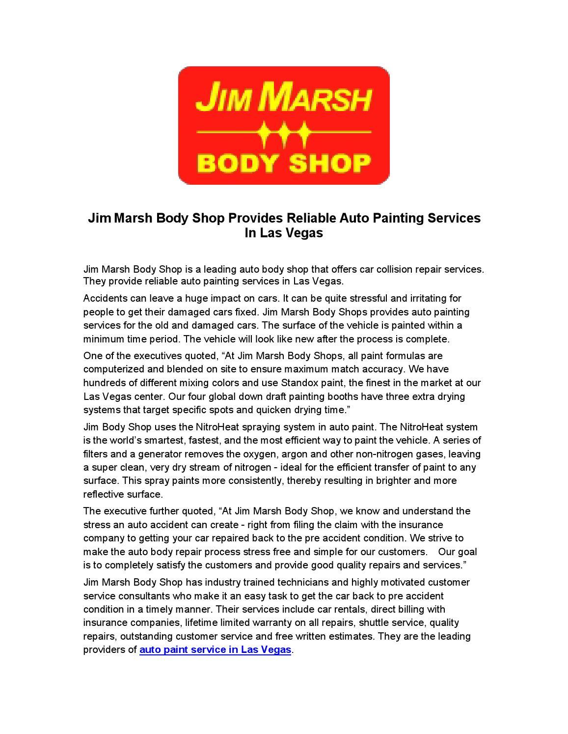 Jim marsh body shop provides reliable auto painting for Auto paint shop las vegas