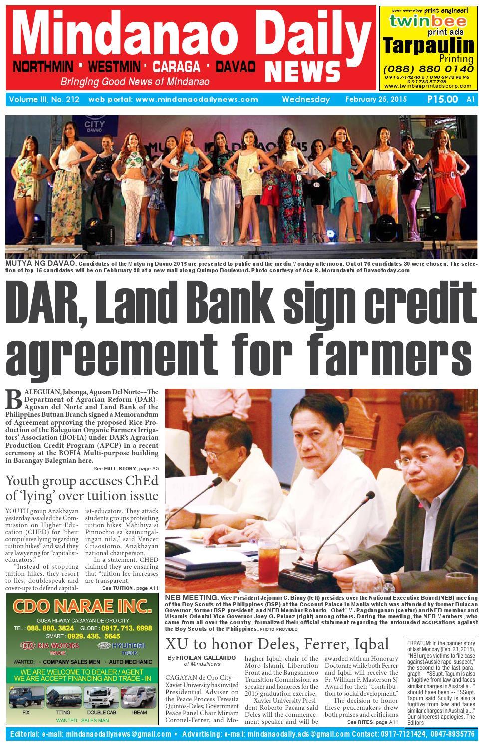 mindanao daily caraga february 25 2015 by dante sudaria