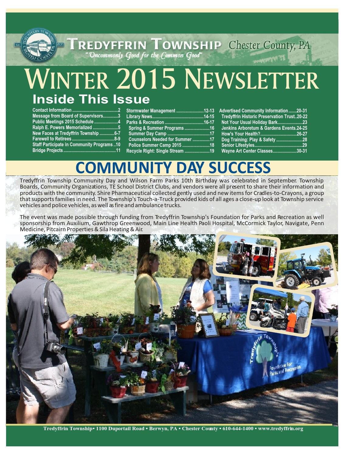 Tredyffrin 2015 Winter Newsletter by Franklin Maps - Issuu