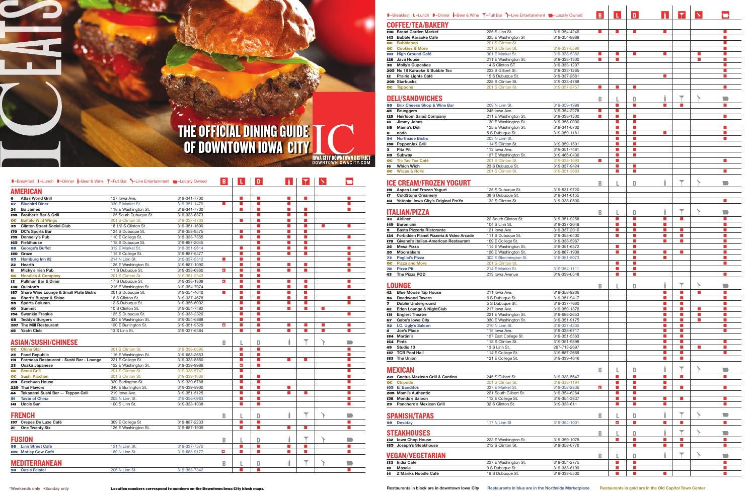 Dining Guide Downtown Iowa City By Downtownic Issuu