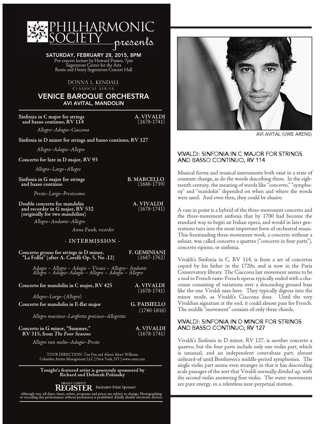 Venice baroque program by Philharmonic Society of Orange