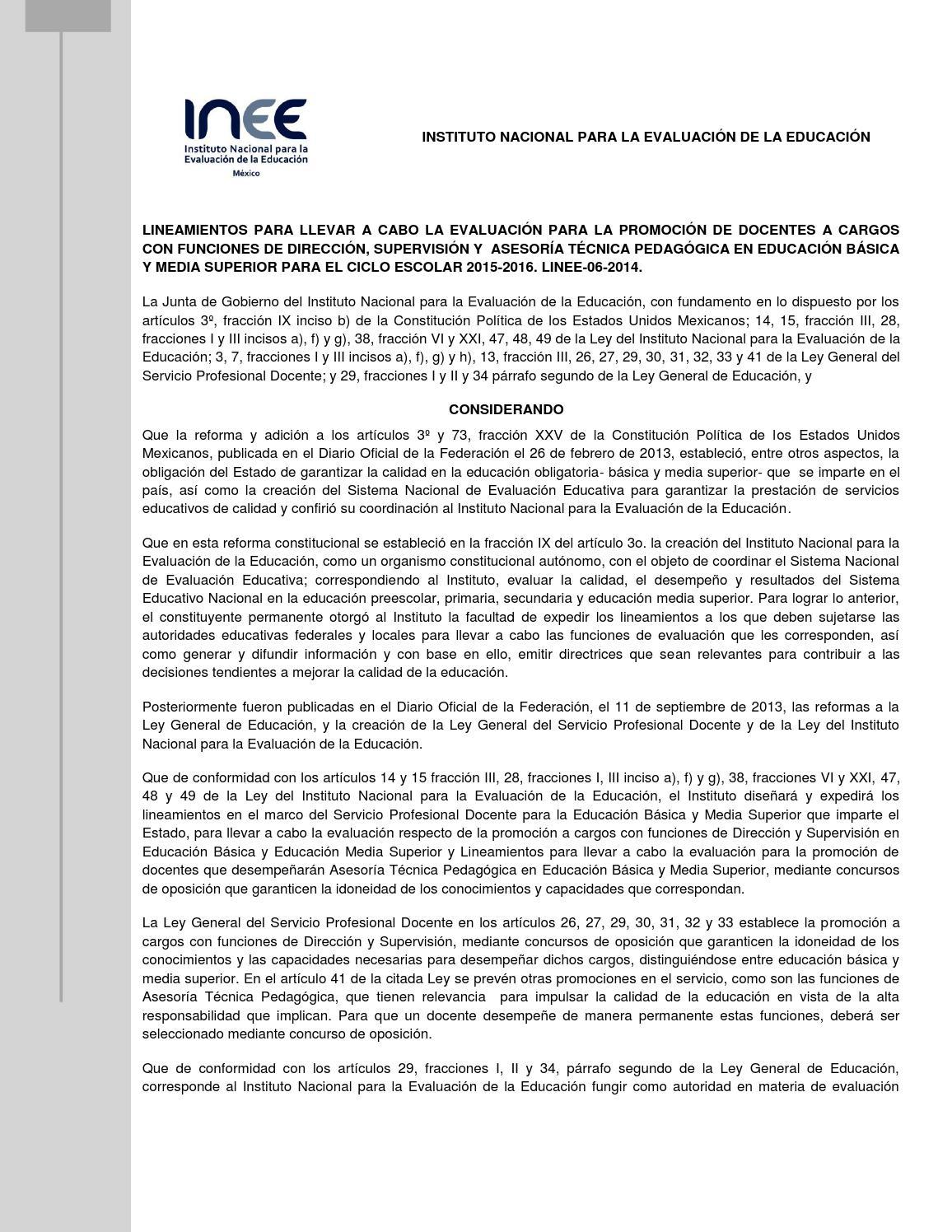 Lineamientos concurso oposicion 2015 2016 servicio for Concurso meritos docentes 2016