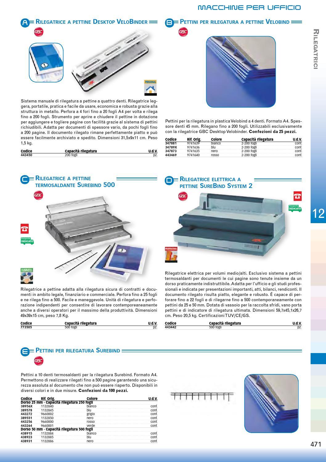 Blu 250 Fogli di Capacit/à 1132845 A4 25 mm GBC Dorsi per Rilegatura SureBind Confezione da 100
