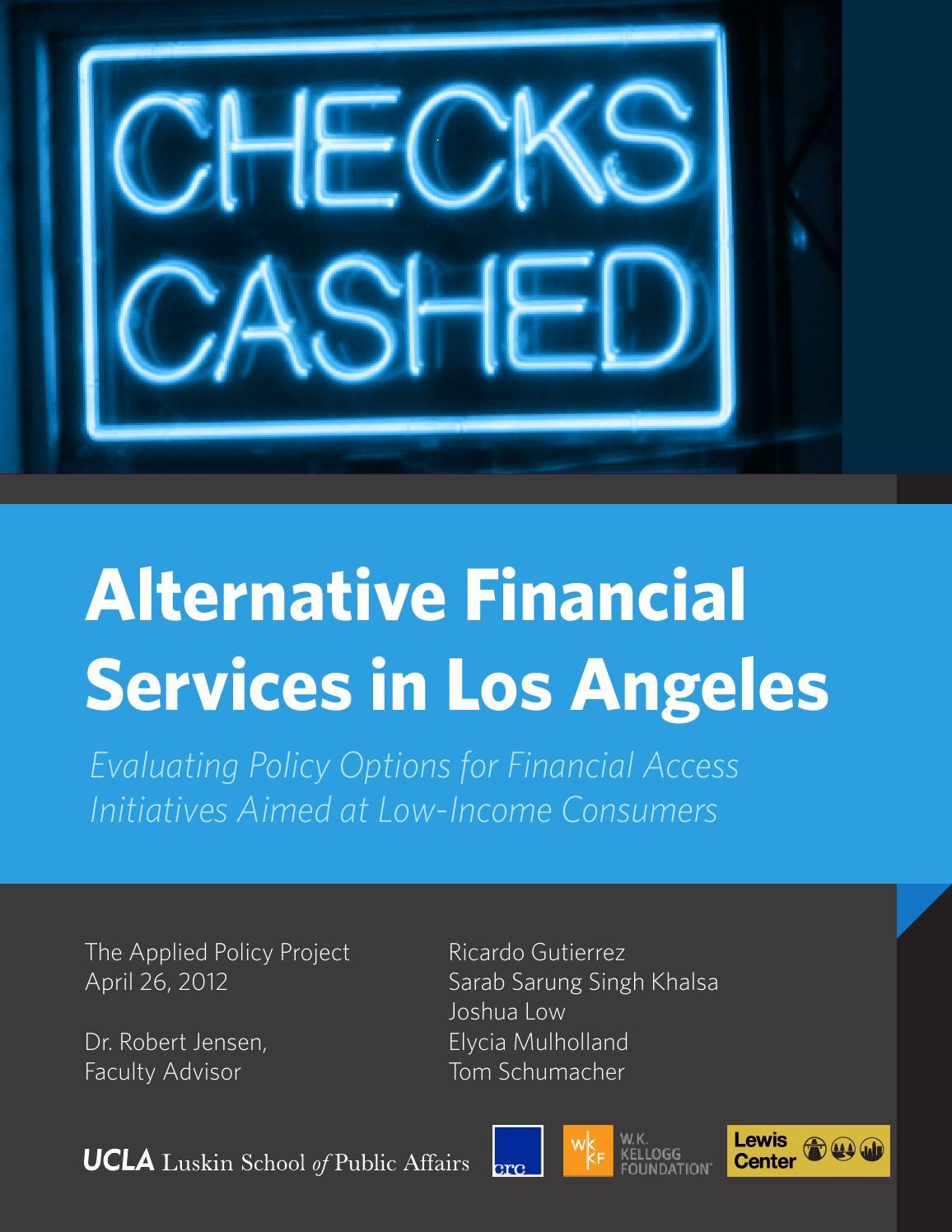 Alternative financial services in los angeles by UCLA Luskin