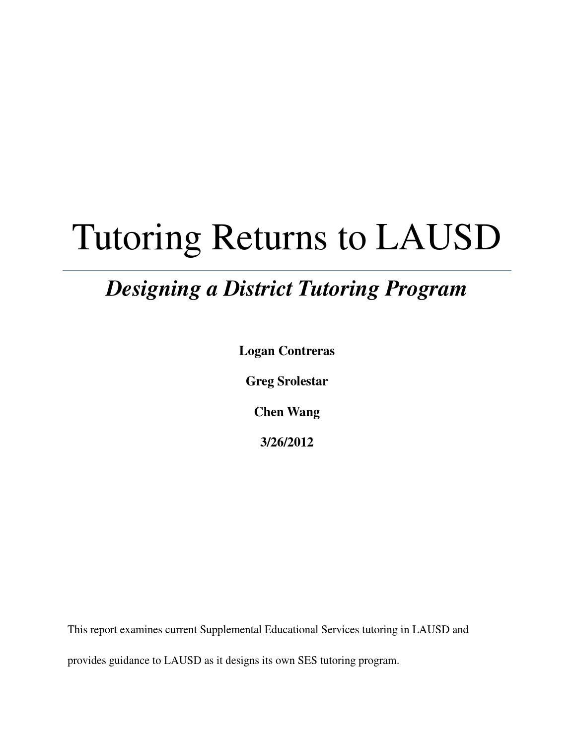 Tutoring Program Returns To Lausd By Ucla Luskin School Of Public