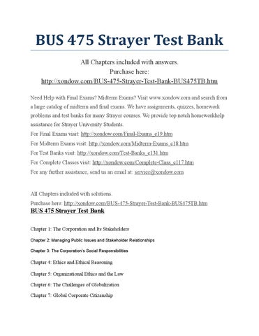 strayer university bus 475 Bus 475 week 3 quiz 3 started7/14/15 submitted7/14/15 statuscompleted attempt score90 out of 90 points question 1 3 out of 3 points under the sarbanes-oxley act, corporations are required.