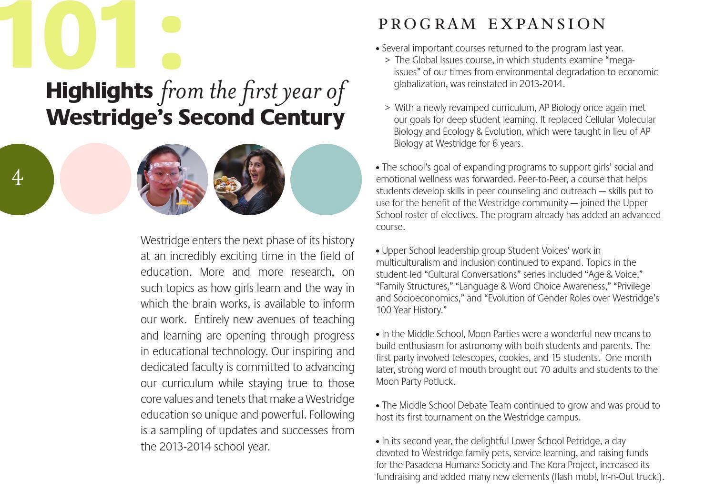 Westridge Annual Report 2013-2014 by Westridge School - issuu