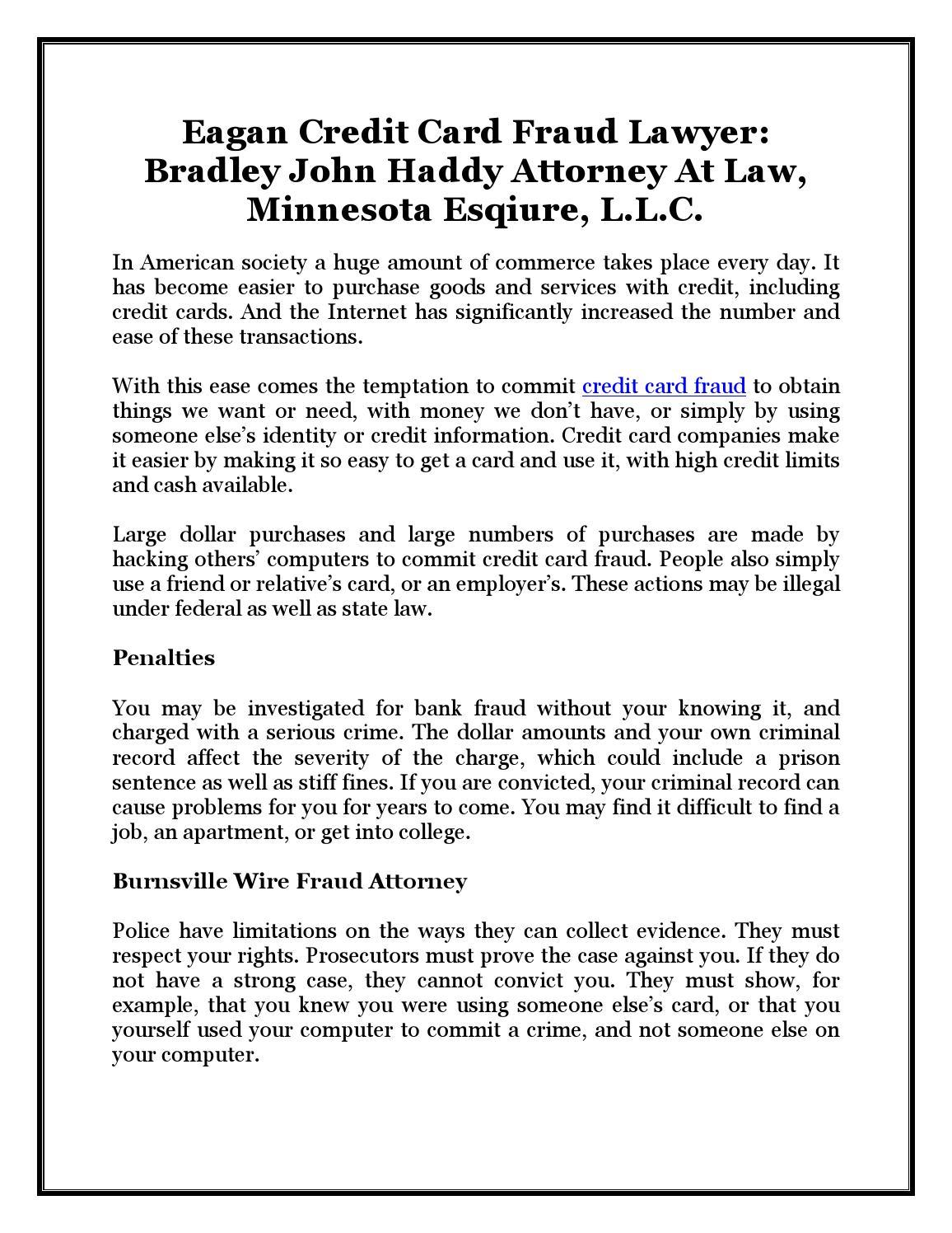 Eagan Credit Card Fraud Lawyer: Bradley John Haddy Attorney At Law ...