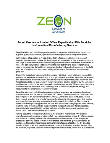 Zeon lifesciences limited offers expert malted milk food and