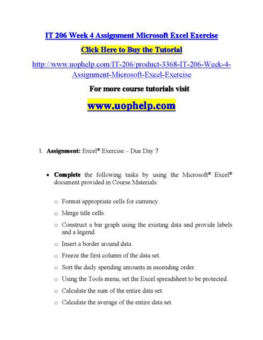 it 206 week 4 assignment microsoft excel exercise click here to buy the tutorial