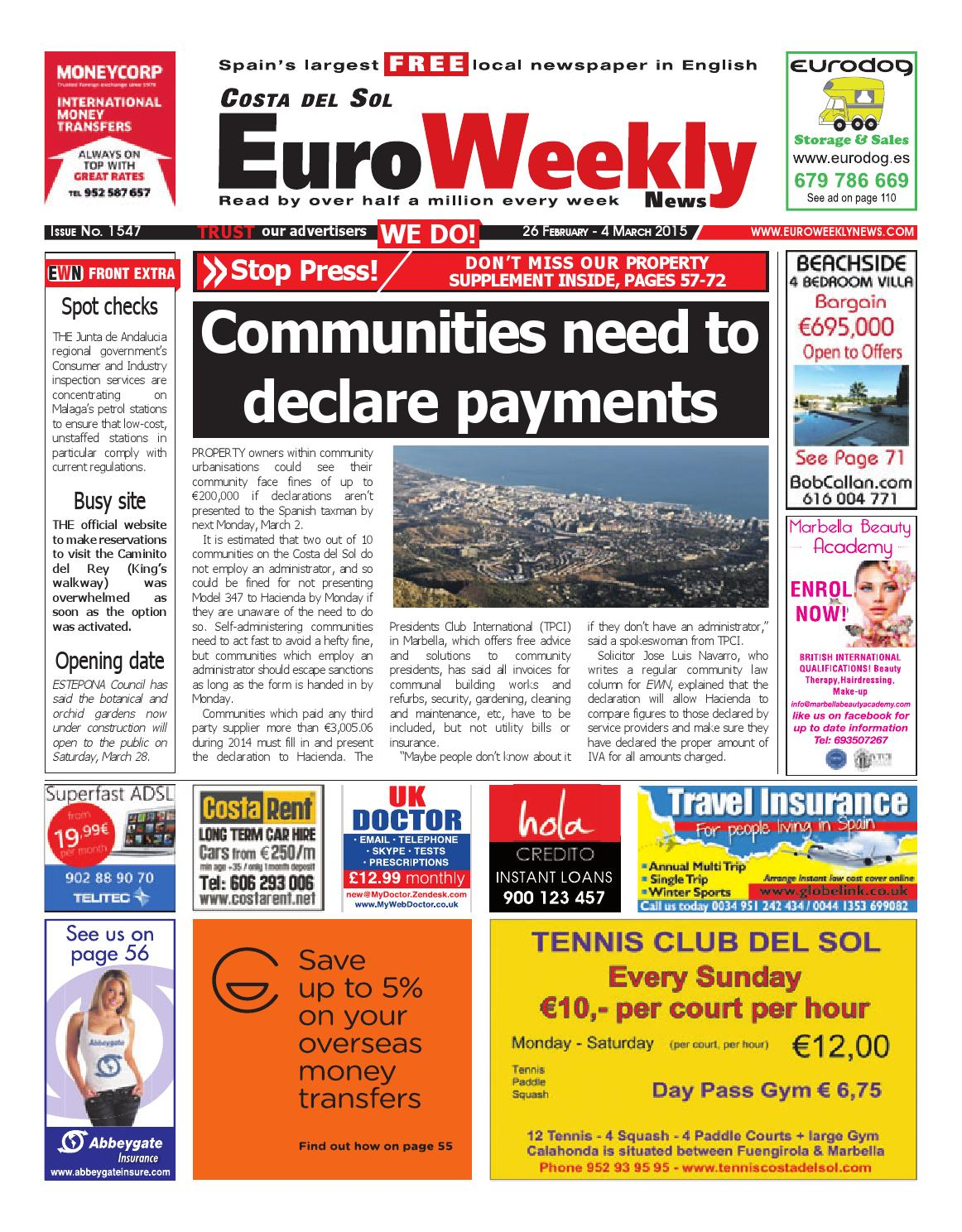 Euro Weekly News - Costa del Sol 26 February - 4 March 2015 Issue 1547