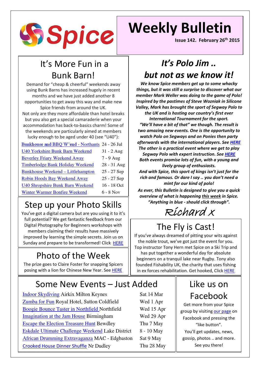Spice West Mids Weekly Bulletin 26 February 2015 by Richard