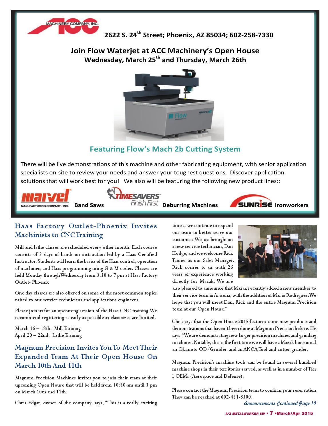 A2Z Metalworker Southwest Mar-Apr 2015 by A2Z Manufacturing