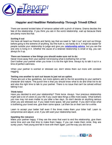 Happier and Healthier Relationship Through Trivedi Effect by