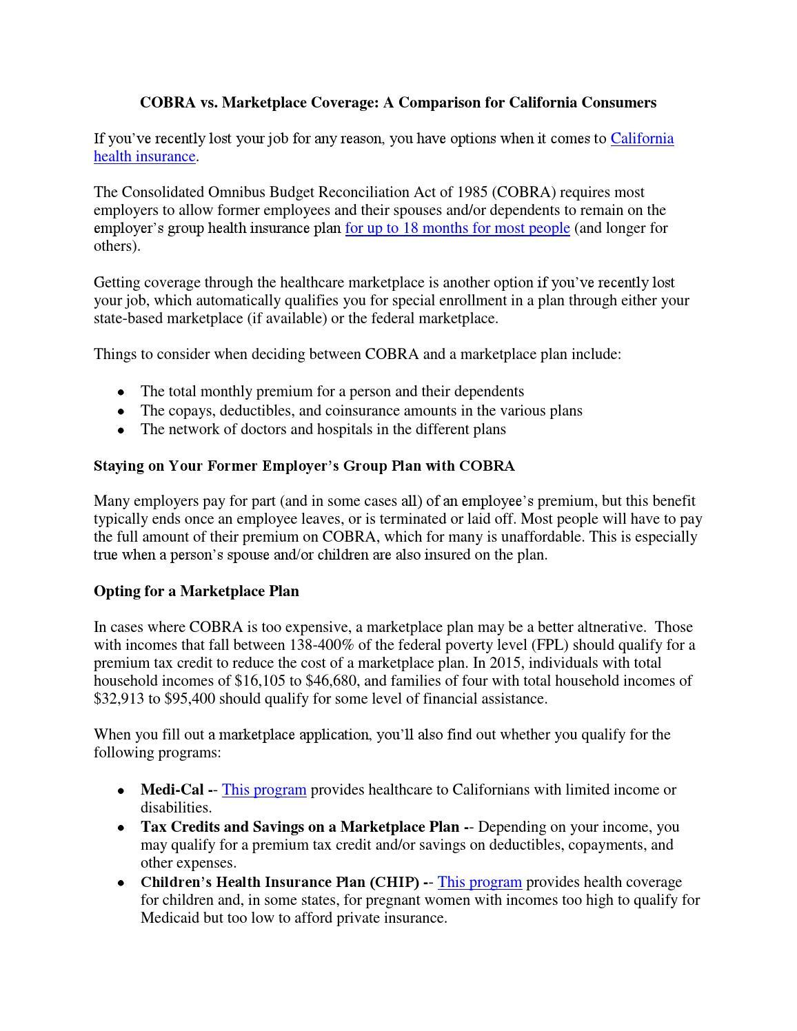 COBRA vs. Marketplace Coverage: A Comparison for ...