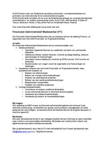 Vacature financieel administratief medewerker by Alda Events   issuu