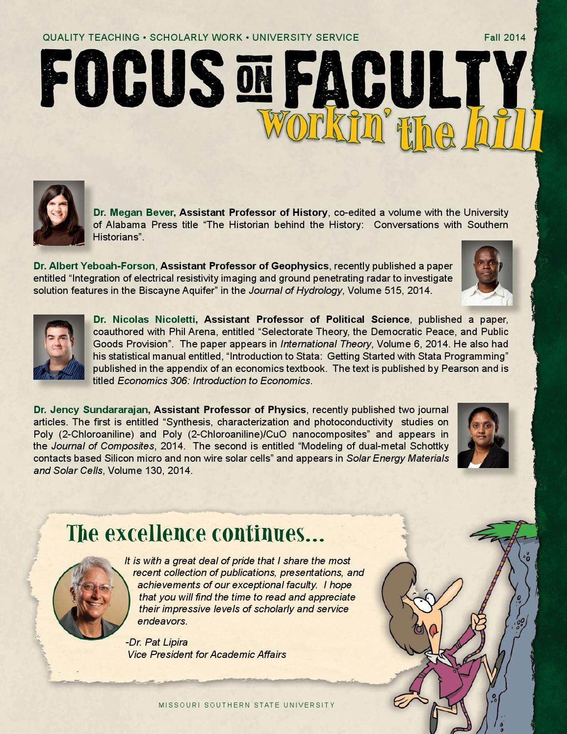 Focus on Faculty -Workin\' the Hill Fall 2014 by Missouri Southern ...