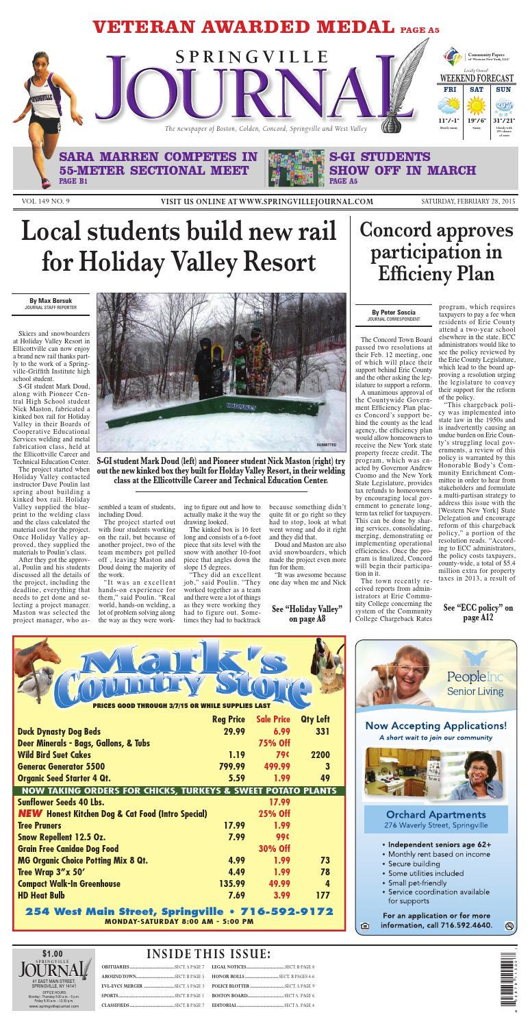 Springville journal 03 01 2015 by Community Papers of WNY - issuu