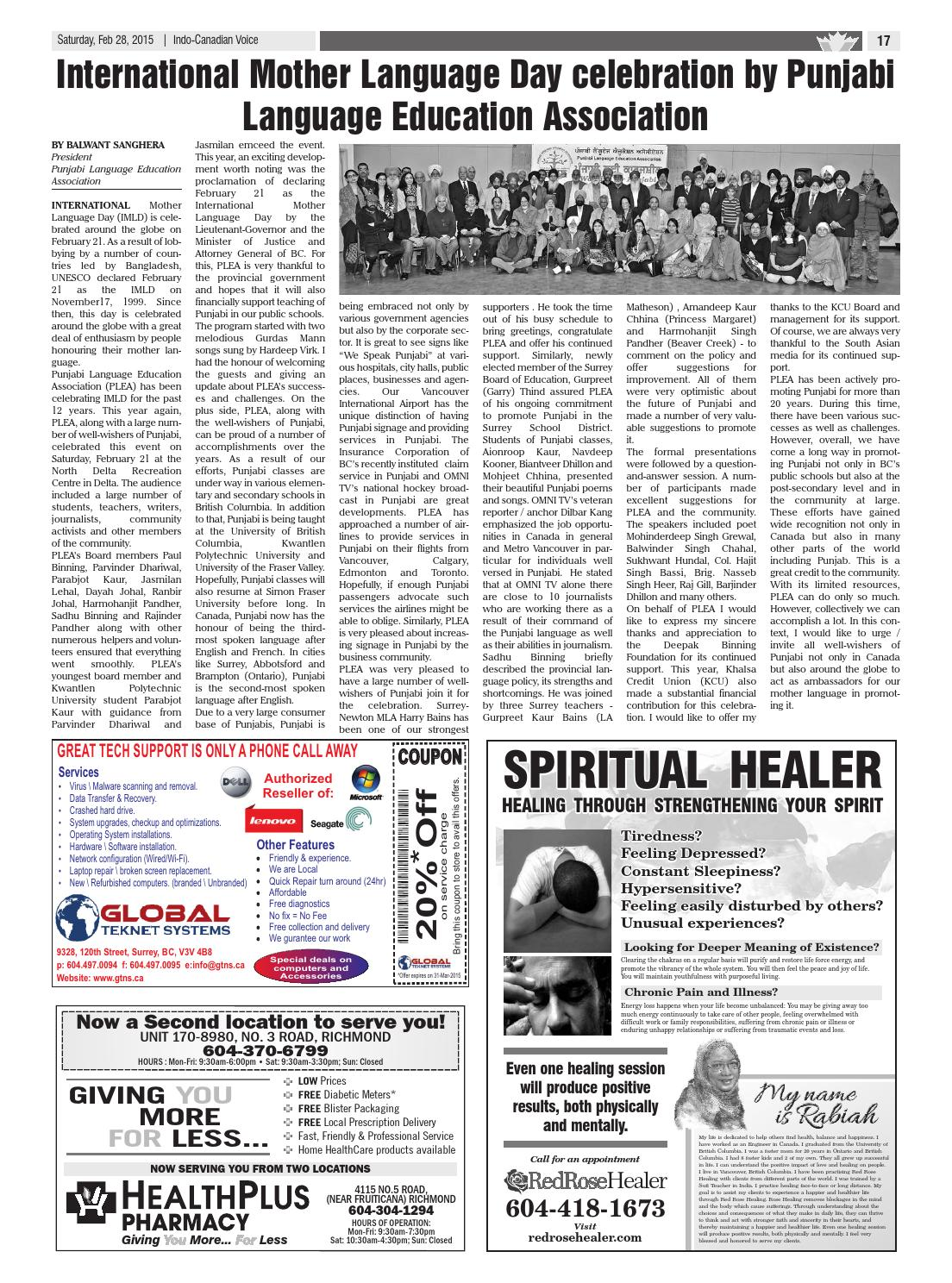 Indo canadian voice main february 28, 2015 by Indo-Canadian Voice
