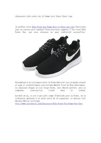 best service b616e be3bf chaussures nike roshe run id femme noir blanc blanc logo