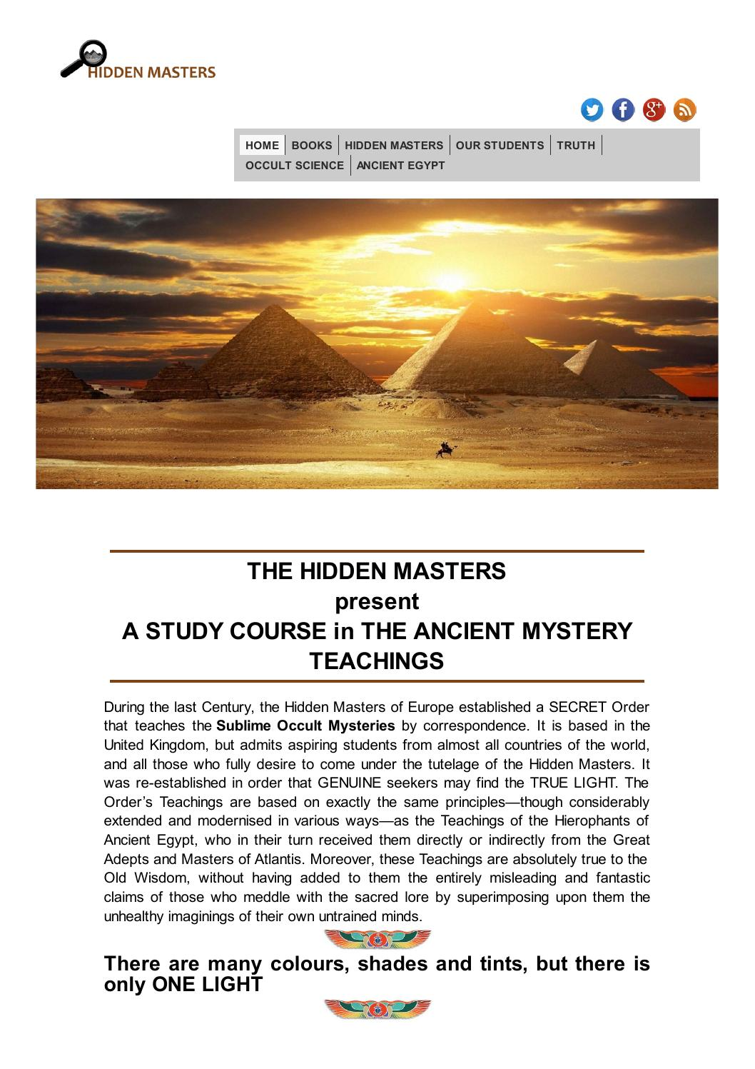 Hidden masters by Ancientmystery Teachings - issuu