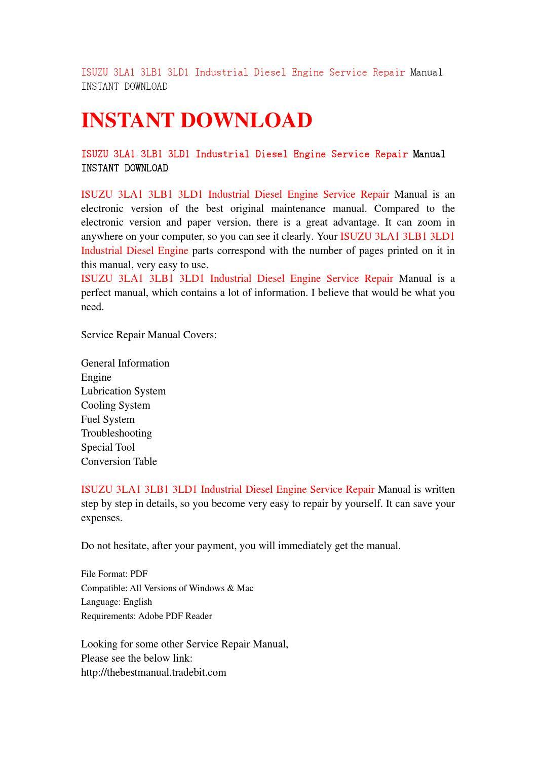 Isuzu 3la1 3lb1 3ld1 industrial diesel engine service repair manual instant  download by jfhsjefn - issuu