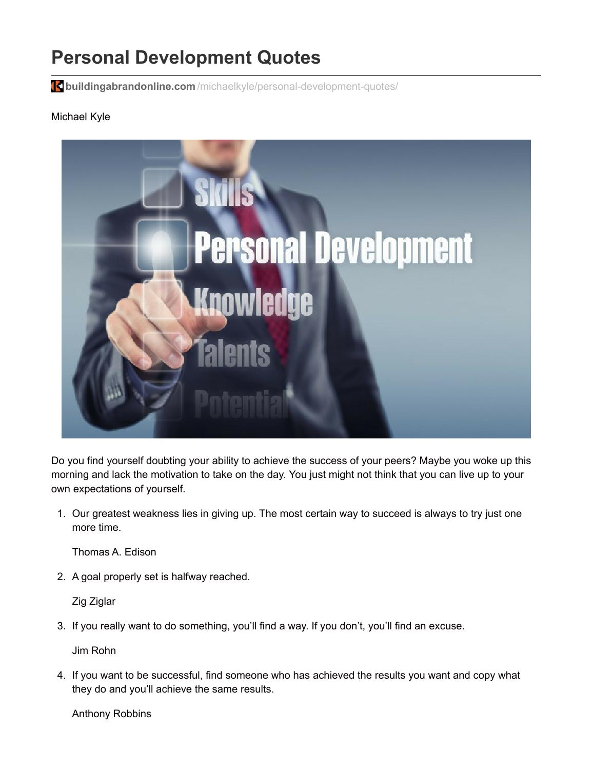 Personal Development Quotes Personal Development Quotesmichael Kyle  Issuu