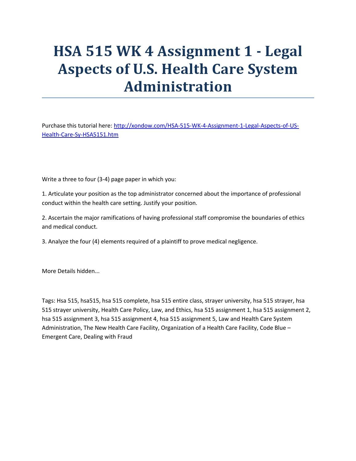 Hsa 515 week 4 assignment 1 legal aspects of u s health care
